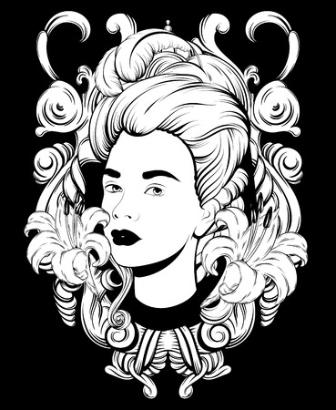 Vector hand drawn illustration of pretty woman isolated. Creative tattoo artwork. Template for card, poster. banner, print for t-shirt, pin, badge, patch.