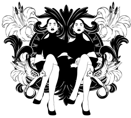 Vector hand drawn illustration of sitting ladies with frame and flowers isolated. Creative tattoo artwork. Template for card, poster. banner, print for t-shirt, pin, badge, patch. Иллюстрация