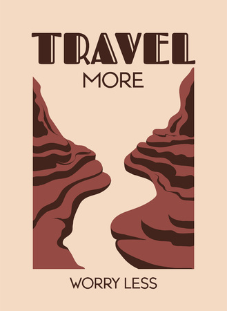 Travel more worry less. Vector hand drawn landscape of desert isolated. Template for card, poster. banner, print for t-shirt, pin, badge, patch. Ilustración de vector