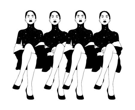 Vector hand drawn illustration of sitting ladies isolated. Creative tattoo artwork. Template for card, poster. banner, print for t-shirt, pin, badge, patch.
