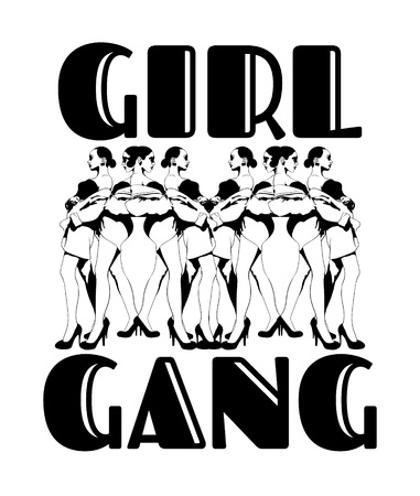 Gorl gang. Vector hand drawn illustration of pretty ladies isolated. Creative tattoo artwork. Template for card, poster. banner, print for t-shirt, pin, badge, patch. Иллюстрация