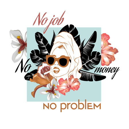 No job no money no car. Vector hand drawn illustration of pretty girl with cigarette and flowers isolated. Template for card, poster. banner, print for t-shirt, pin, badge, patch.