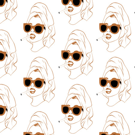 Vector pattern with hand drawn illustrtation of pretty girl with cigarette isolated. Template for card, poster. banner, print for t-shirt, pin, badge, patch. 일러스트