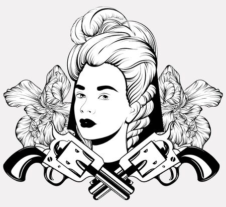 Vector hand drawn illustration of pretty woman with guns and flowers isolated. Tattoo artwork. Template for card, poster. banner, print for t-shirt, pin, badge, patch.