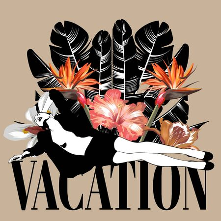 Vacation . Vector hand drawn illustration of young lady with flowers isolated. Template for card, poster. banner, print for t-shirt, pin, badge, patch. Foto de archivo - 130399788