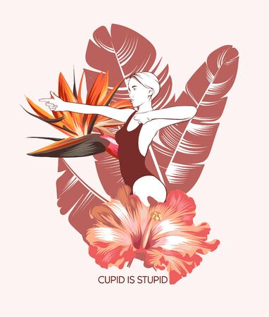 Cupid is stupid. Vector hand drawn illustration of shooting woman with flowers isolated. Template for card, poster. banner, print for t-shirt, pin, badge, patch.