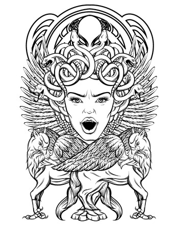 Vector hand drawn illustration of medusa Gorgon with hippogryph isolated. Surrealistic tattoo artwork. Template for card, poster. banner, print for t-shirt, pin, badge, patch.