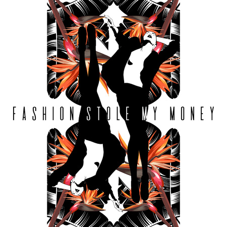Fashion stole my money. Vector hand drawn illustration of women isolated. Template for card, poster. banner, print for t-shirt, pin, badge, patch.