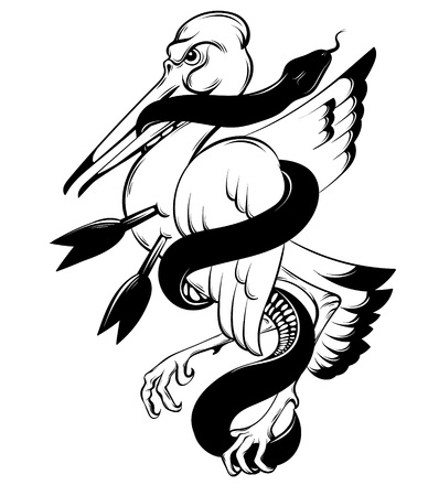 Vector hand drawn illustration of bird biting snake isolated. Creative tattoo artwork. Template for card, poster. banner, print for t-shirt, pin, badge, patch.