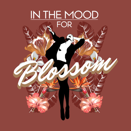 In the mood for blossom. Vector hand drawn illustration of pretty woman with tropical flowers isolated. Template for card, poster. banner, print for t-shirt, pin, badge, patch.