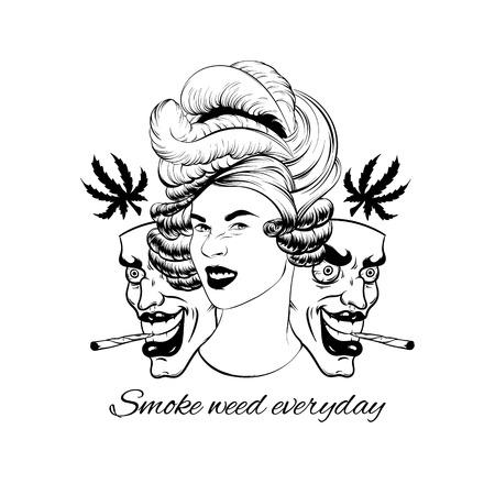 Fumer de la ganja tous les jours. Vector illustration dessinée à la main de jolie fille avec des masques isolés. Oeuvre de tatouage créatif. Modèle de carte, affiche. bannière, impression pour t-shirt, épingle, badge, patch. Vecteurs