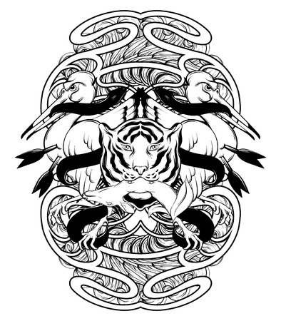 Vector hand drawn illustration of bird biting snake with tiger and deer isolated. Creative tattoo artwork. Template for card, poster. banner, print for t-shirt, pin, badge, patch. Ilustração