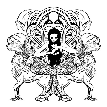 Vector hand drawn illustration of pretty witch with hippogryph isolated. Surrealistic tattoo artwork. Template for card, poster. banner, print for t-shirt, pin, badge, patch. Ilustração