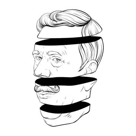 Ilustración de dibujado a mano de vector de anciano con bigote aislado. Arte creativo del tatuaje. Plantilla para tarjeta, cartel. pancarta, impresión para camiseta, pin, insignia, parche. Ilustración de vector