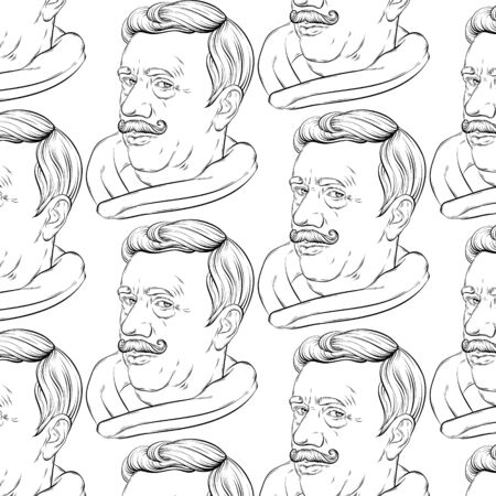 Vector pattern with hand drawn illustration of old man with moustache isolated. Template for card, poster. banner, print for t-shirt, pin, badge, patch.