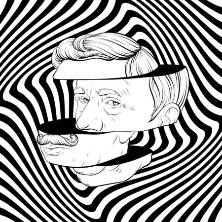 Vector hand drawn illustration of old man with moustache isolated. Creative tattoo artwork. Template for card, poster. banner, print for t-shirt, pin, badge, patch.