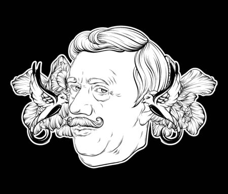 Vector hand drawn illustration of old man with moustache and birds isolated. Tattoo artwork. Template for card, poster. banner, print for t-shirt, pin, badge, patch.