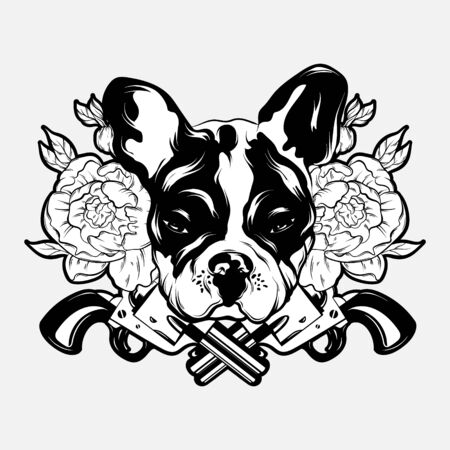 Vector hand drawn illustration of bulldog with guns and flowers . Creative tattoo artwrok. Template for card, poster. banner, print for t-shirt, pin, badge, patch.