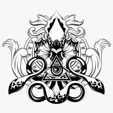 Vector hand drawn illustration of squid isolated. Creative tattoo artwork. Template for card, poster. banner, print for t-shirt, pin, badge, patch.