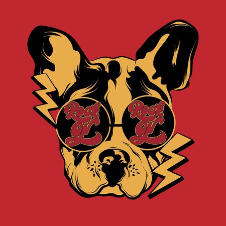 Rock on. Vector hand drawn illustration of bulldog in sunglasses. Creative tattoo artwrok. Template for card, poster. banner, print for t-shirt, pin, badge, patch.