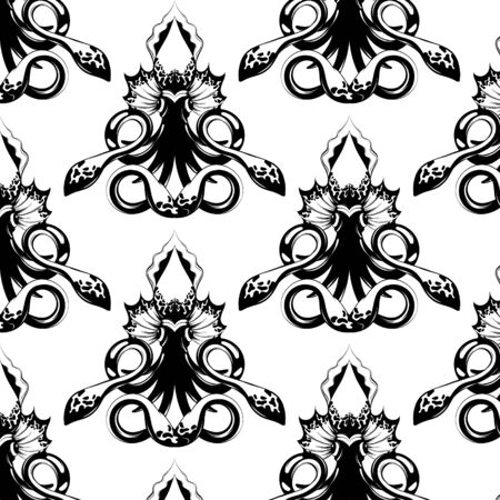 Vector pattern with hand drawn illustration of squid isolated. Creative tattoo artwork. Template for card, poster. banner, print for t-shirt, pin, badge, patch. 일러스트
