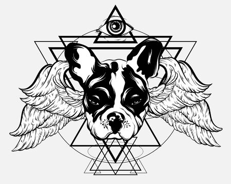 Vector hand drawn illustration of bulldog with wings and all seeing eye isolated. Creative tattoo artwrok. Template for card, poster. banner, print for t-shirt, pin, badge, patch.