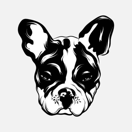 Vector hand drawn illustration of bulldog . Creative tattoo artwrok. Template for card, poster. banner, print for t-shirt, pin, badge, patch.