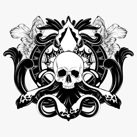 Vector hand drawn illustration of human skull with baroque frame and flowers isolated. Creative tattoo artwork. Template for card, poster. banner, print for t-shirt, pin, badge, patch. 일러스트