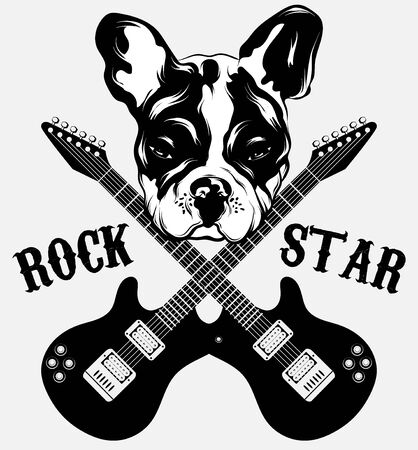 Rock star. Vector hand drawn illustration of bulldog with guitar . Creative tattoo artwrok. Template for card, poster. banner, print for t-shirt, pin, badge, patch.