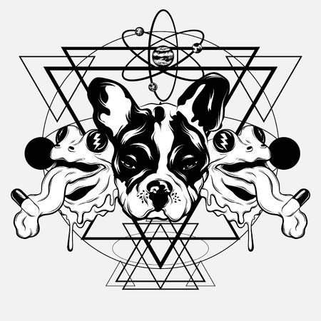 Vector hand drawn illustration of bulldog with frogs with tongue and planets . Creative tattoo artwrok. Template for card, poster. banner, print for t-shirt, pin, badge, patch. 일러스트