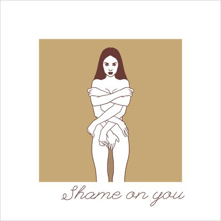 Shame on you. Vector hand drawn illustration of shy girl with many hands isolated. Creative tattoo artwork. Template for card, poster. banner, print for t-shirt, pin, badge, patch.