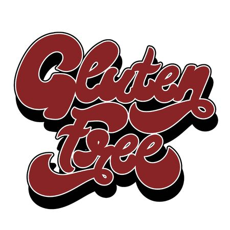 Gluten free. Vector hand drawn lettering isolated. Template for card, poster. banner, print for t-shirt, pin, badge, patch.