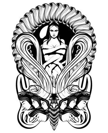 Vector hand drawn illustration of shy girl with many hands isolated. Creative tattoo artwork. Template for card, poster. banner, print for t-shirt, pin, badge, patch. 일러스트
