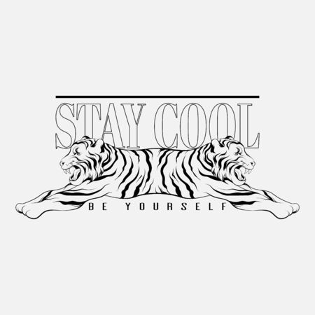 Stay cool. Be yourself. Vector hand drawn illustration of tiger with two heads isolated. Template for card, poster. banner, print for t-shirt, pin, badge, patch.