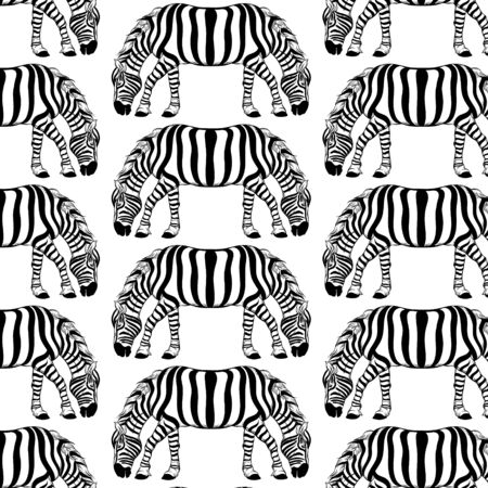 Vector pattern with hand drawn illustration of zebra with two heads. Template for card, poster. banner, print for t-shirt, pin, badge, patch.