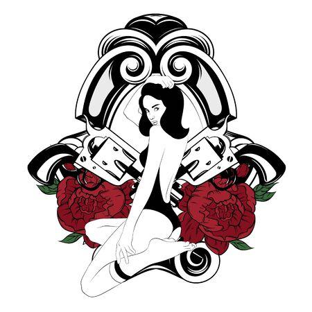 Illustrazione disegnata a mano di vettore della bella ragazza con fiori e pistole in calzini al ginocchio e costume da bagno isolato. Opera d'arte del tatuaggio. Modello per carta, poster. banner, stampa per t-shirt, spilla, badge, toppa.