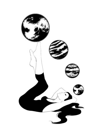 Vector hand drawn illustration of girl with planets isolated. Creative tattoo artwork. Template for card, poster. banner, print for t-shirt, pin, badge, patch. 向量圖像