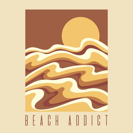 Beach addict. Vector hand drawn illustration of stylised landscape with lettering isolated. Creative artwork.Template for card, poster, banner, print for t-shirt, pin, badge, patch.