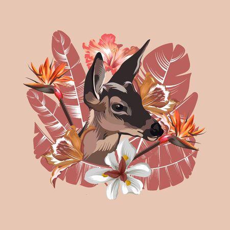 Ilustración de dibujado a mano de vector de cervatillo con hojas tropicales y flores aisladas. Arte creativo del tatuaje. Plantilla para tarjeta, póster, pancarta, impresión para camiseta, pin, insignia, parche.