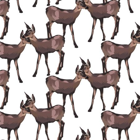 Vector pattern with  hand drawn illustration of fawn isolated.  Template for card, poster, banner, print for t-shirt, pin, badge, patch.