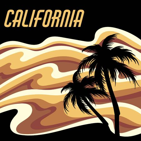 California. Vector hand drawn landscape with palms isolated. Template for card, poster, banner, print for t-shirt, pin, badge, patch.