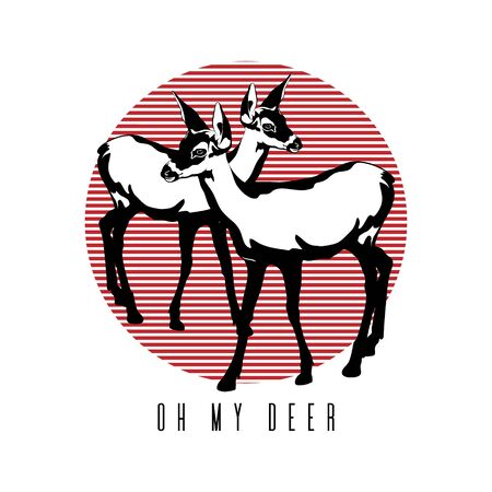 Oh my deer. Vector hand drawn illustration of fawn isolated. Creative tattoo artwork. Template for card, poster, banner, print for t-shirt, pin, badge, patch. Illustration