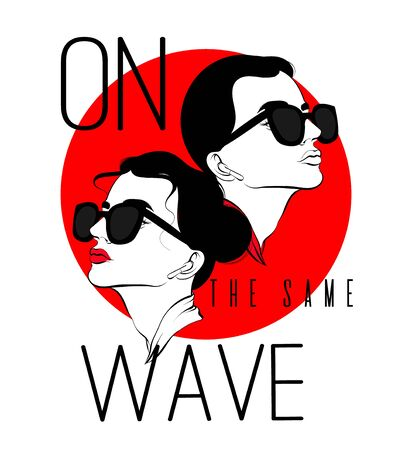 On the same wave. Vector hand drawn illustration of woman  and man with wireless headphones isolated. Template for card, poster, banner, print for t-shirt, pin, badge, patch. Иллюстрация