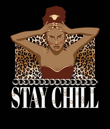 Stay chill. Vector hand drawn illustration of beautiful woman isolated. Template for card, poster, banner, print for t-shirt, pin, badge, patch.