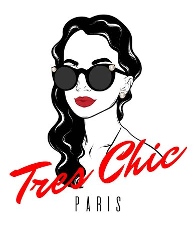 Tres chic. Paris. Vector hand drawn illustration of girl with curly hair isolated. Template for card, poster, banner, print for t-shirt, pin, badge, patch. Иллюстрация