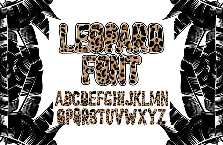 Vector hand drawn font with leopard skin. Creative type.  Handwritten script  for card, poster, banner, print for t-shirt,  patch. Иллюстрация