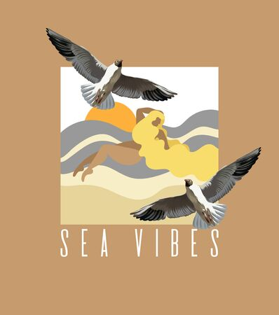 Sea vibes. Vector hand drawn illustration of fat woman with seagulls. Creative artwork made in flat style.  Template for card, poster, banner, print for t-shirt, coloring,  patch.