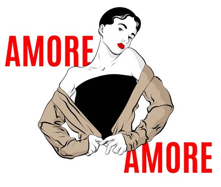 Amore. Vector hand drawn illustration of girl isolated. Creative artwork. Template for card, poster, banner, print for t-shirt, pin, badge, patch.