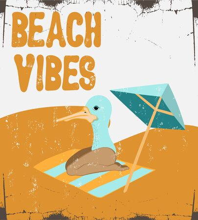 Beach vibes. Vector hand drawn illustration of duck with womans legs isolated. Template for card, poster, banner, print for t-shirt, pin, badge, patch.