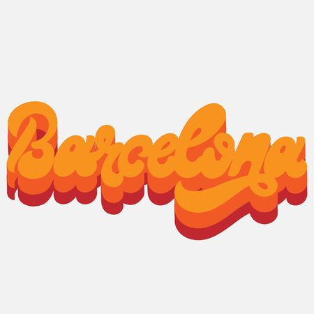 Barcelona. Vector  hand drawn  lettering  isolated. Template for card, poster, banner, print for t-shirt, label,  patch.
